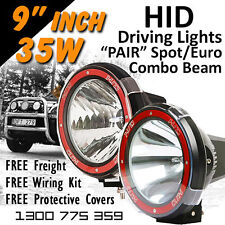 HID Xenon Driving Lights - Pair 9 Inch 35w Spot Euro Beam Combo 4x4 4wd Off Road