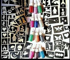 GLITTER TATTOO KIT boys and girls VALUE 74 stencils 12 puffers 2 glue 3 brushes