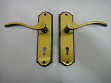 HOMEBASE HOWARD LEVER LOCK HANDLE IN ANTIQUE BRASS FINISH - NEW
