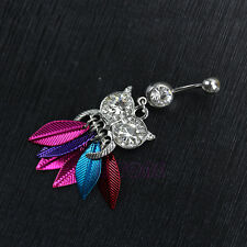 Pendant Cute Owl Surgical Steel Belly Button Ring Navel Piercing Body Jewelry