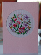 Completed cross-stitch 'Any Occasion' Card - Pink