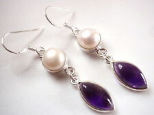 Genuine Pearl and Amethyst Marquise Earrings Dangle 925 Sterling Silver Drop