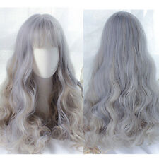 Harajuku Anime Wig Long Body Wavy Curly Ombre Gray Costume Cosplay Party Hair