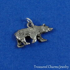Silver GRIZZLY BEAR Wild Animal Cub CHARM PENDANT