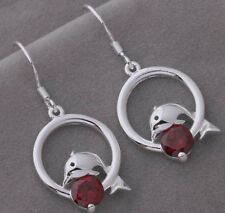 925 Silver Plated Dolphin Red Crystal Drop Dangle Earrings Stunning Ladies Gift