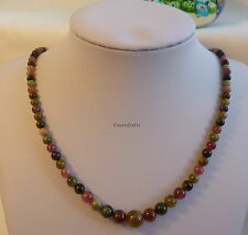 Certified multi-color tourmaline 3-8mm bead tower necklace, gemstone necklace