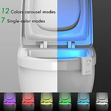 Motion Sensor Activated LED Toilet Light Bowl Bathroom Night Light Seat 12 Color
