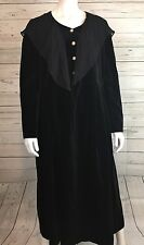 VTG Laura Ashley Black Velvet Long Sleeve Maxi Dress Sz 12 Modest Great Britain
