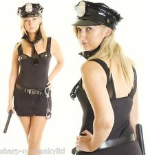 Ladies 5 Piece Police Woman Cops & Robbers Halloween Fancy Dress Costume Outfit