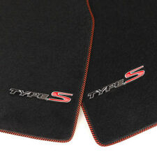 4 Pcs Red Trim Front Rear Carpet Floor Mat w/ Type S Emblem For 04-08 Acura TL