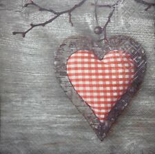 4 x SINGLE PAPER NAPKINS-HEART WOOD  - DECOUPAGE AND CRAFT-89