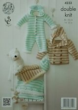 KNITTING PATTERN Baby Striped Coat Onesie Blanket Cushion Hat Cuddles DK 4233