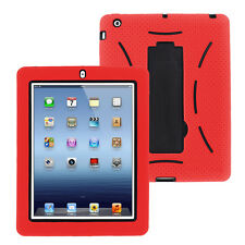 Red Hybrid Case Rugged Shockproof Full Cover Body Skin For Apple iPad 2 3 4