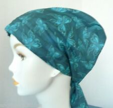 Elegant Teal Butterfly Cancer Chemo Hat Hair Loss Scarf Fitted Turban Head Cover