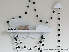 Black Felt Ball Garland,Monochrome Nursery,Boys Bedroom,Black and White Nursery
