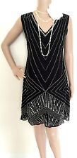 *Live2love*Beautiful 20's Gatsby Beaded & Sequined Dress, Size:UK12, New