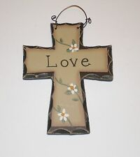 Primitive Carved look Cross~LOVE Wall or ornament~ hanging decor