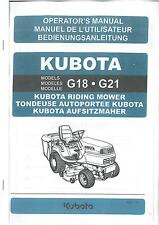 KUBOTA RIDE ON MOWER - MODELS G18 & G21 OPERATORS MANUAL