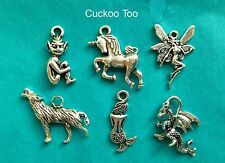 6 x MYTHICAL CREATURES CHARM SET - Pixie Fairy Unicorn Dragon Mermaid Werewolf