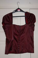 New 14 Steampunk Blood Red/Black Sheen Satin Boned Hook Eye Top Puff Sleeve Gift