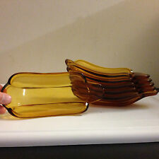 Set of 6 Banana Split / Corn Dishes Mid Century Amber Glass Dessert Serving