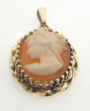 ESTATE 14 KARAT YELLOW GOLD CAMEO PENDANT ACS-7-1 B VINTAGE ANTIQUE