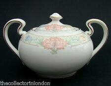 Aynsley Fine Bone China Peony Pattern 2 Handle Sugar Box & Lid 10cmh in VGC