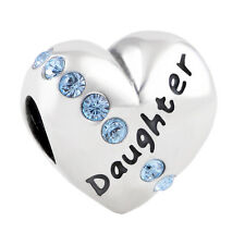DAUGHTER HEART Genuine S925 Sterling Silver Charm Bead Fits European Bracelet