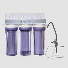 3 STAGE UNDER SINK DRINKING WATER FILTER SYSTEM: SEDIMENT/ UDF/Carbon | USA MADE