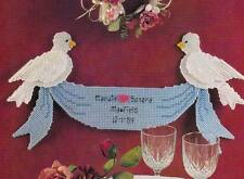 WEDDING DOVES BANNER PLASTIC CANVAS PATTERN INSTRUCTIONS ONLY FROM A MAGAZINE