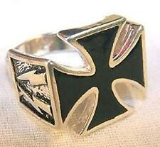 NEW BLACK IRON CROSS LIGHTNING BOLT sides SILVER BIKER RING BR74 mens jewelry