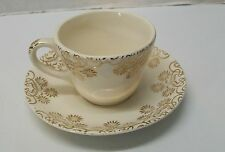 Gold Teacup Saucer 22KT Off White Gold Flowers American China Dec Co Vintage
