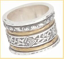 HTF Silpada Twirl Ring Brass Sterling Silver Size 8 R2293 New W/B in Suede Pouch