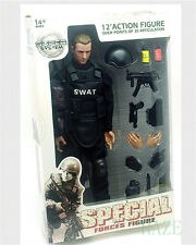 "12""Soldier Action Figure SWAT Black Uniform Model Toy Military Army Suit hot toy"
