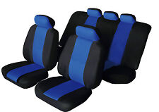 SPORTY Universal for HYUNDAI GETZ Fabric Car Seat Covers BLACK & BLUE