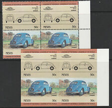 Nevis (1604) - 1984 VW BEETLE  IMPERF Block plus matched normal unmounted