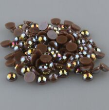 NEW 100pcs Half Pearl Bead Flat Back 8mm Scrapbook for Craft FlatBack Coffee AB/