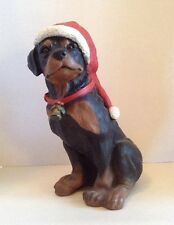 "Universal Statuary ROTTWEILER DOG Puppy Lg Figure 12"" Christmas Bell Santa Hat"