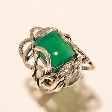Handmade Double Wrap Snake Green Onyx 925 Sterling Silver Men's Jewelry Ring New
