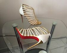 NIB AUTH Christian Louboutin Millaclou 100 Open Toe Cage Spike Beige Pump Sz 39