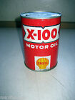 Vintage1950's SHELL X100 SAE MOTOR OIL 1QT CAN, NO rust, NO dents, Graphic,Empty