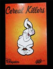 POPAGANDA CEREAL KILLERS SERIES TRICKY THE OBESE RABBIT LAPEL PIN BY RON ENGLISH