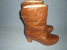UGG Lynnea Chestnut Leather Ankle Boot Clog Block Heel Shearling Cuffable Size 7