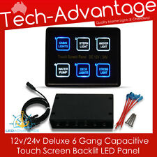 12V/24V SLIM COMPACT 6 GANG LED TOUCH SWITCH PANEL & CONTROL BOX - BOAT/CARAVAN