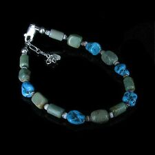 PETITE .925 Sterling Silver Natural Blue Green Kingman Turquoise Bracelet