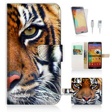 Samsung Galaxy Note 4 Print Flip Wallet Case Cover! Tiger Face P0029