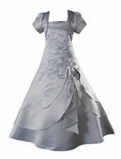 New Grey Satin Flower Girl Bridesmaid Dress 11-12 years with Matching Bolero