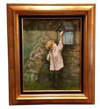 BEAUTIFUL Boy Child Dutch Signed Original Oil Painting Large Gold Gilt NEW FRAME