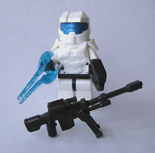 Lego Custom HALO MASTER CHIEF Spartan Minifigure -WHITE- Sniper, Sword, Pistol