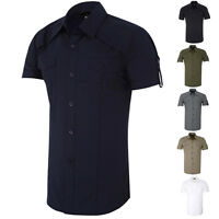 Designer New Mens Short Sleeve Button-Down Shirts Tops Casual Slim Fit Dress